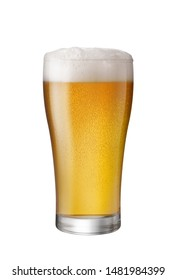 Glass of Light Beer isolate white background with copy space