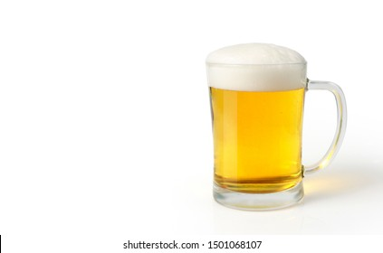 Glass of light beer set isolated on a white background