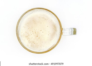 glass of light cold beer on top view  isolated on white background