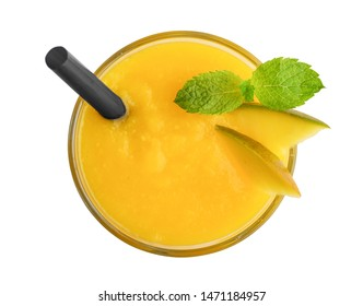 Glass of mango smoothie isolated on white background, top view. Clipping path included