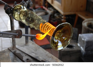 Glass manufacture, production of replica of mediaeval glass. Czech Republic, Svojkov