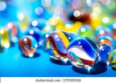 Glass marble studio close up shot