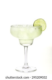 Glass of margarita cocktail on a white background.
