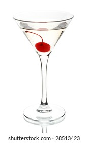 Glass of martini with cherry on a white background