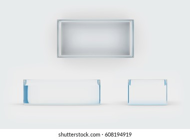 glass material of rectangle box by 3D rendering