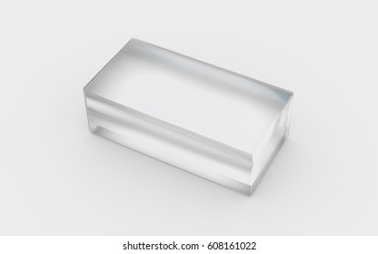 glass material of rectangle solid box by 3D rendering