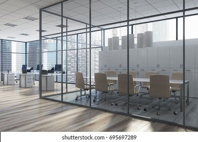 Glass meeting room interior with a long table, two rows of beige chairs, a computer table to the left of it. Side view. 3d rendering mock up