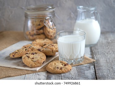 glass of milk and biscuits on wooden background