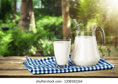 Glass of milk and bottle on  background