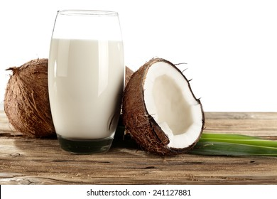 glass of milk and coconuts