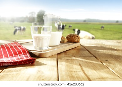 glass of milk and cows