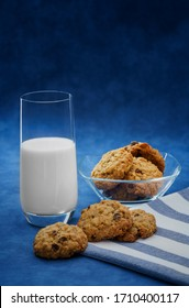 A glass of milk and homemade cookies