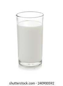 Glass of milk isolate on white