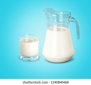 Glass of milk and jug on  white