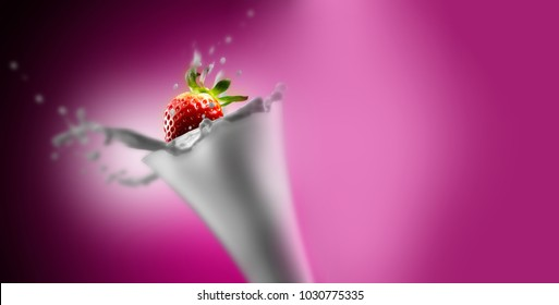 glass of milk and strawberries