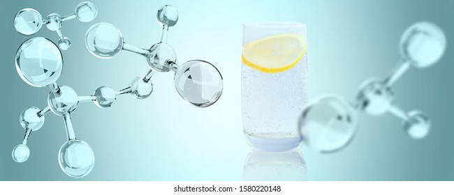 Glass of mineral water with piece of lemon and molecules chain. Over blue background.