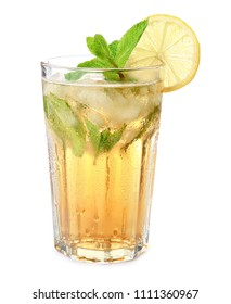 Glass of mint julep cocktail on white background