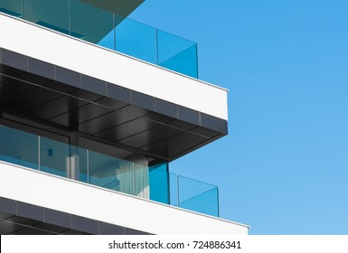 Glass modern balcony of luxury apartment house