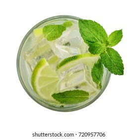 Glass of Mojito cocktail or soda drink with lime and mint isolated on white background, top view