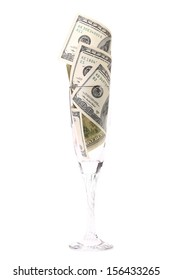 Glass with money.  Isolated on a white background