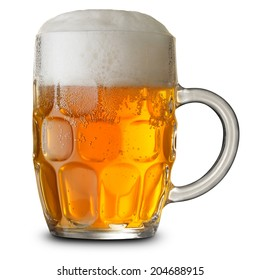 Glass mug with beer isolated. Clipping Path