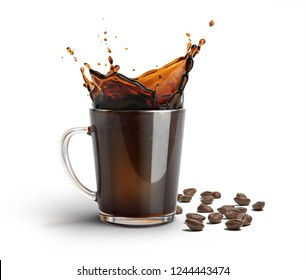 Glass mug with coffee splash. Some coffee beans on the surface besides it. On white background.