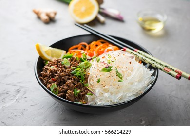 Glass noodle salad with meat and carrots