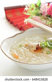 glass noodles and chicken wing soup