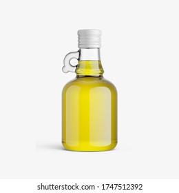 Glass olive oil bottle without label. Glass bottle of olive oil mockup.