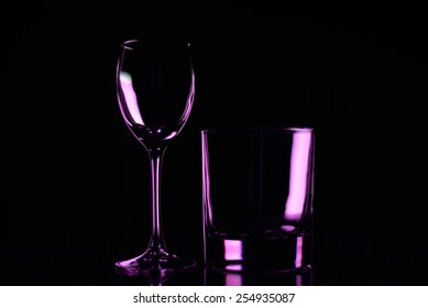 Glass on a black background