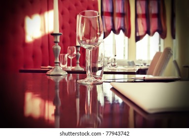 glass on restaurant table