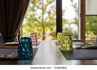 Glass on the table in a cafe