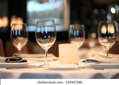 glass on a table in restaurant