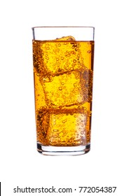 Glass of orange energy carbonated soda drink with ice on white background