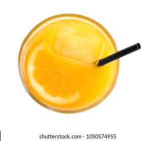 Glass of orange juice with ice isolated on white, top view