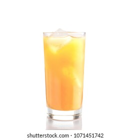 Glass of orange juice with ice on white background