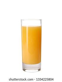 Glass of orange juice on white background