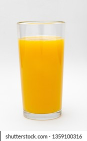a glass of orange juice on a white background