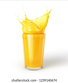 Glass of orange juice with splash, isolated on white background.