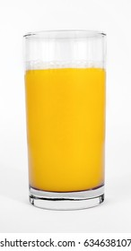 Glass of orange juice. Vertical. Isolated.