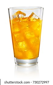 Glass of orange soda isolated on white background with clipping path