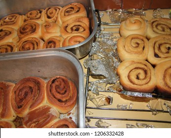 Glass pan full of cinnamon buns exploded on the cooling rack