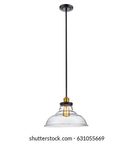 Glass Pendant Sconce Isolated on White Background. Bronze Light Fixture with LED Bulb
