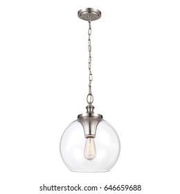 Glass Pendant Sconce Isolated on White Background. Chandelier Lighting. Ceiling Light Lamp with Chain. Light Fixture with LED Bulb