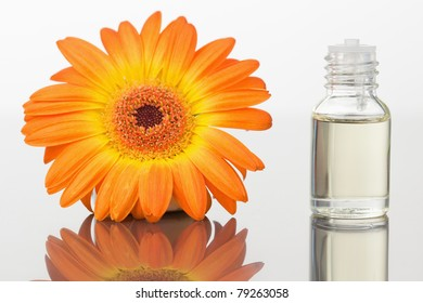 A glass phial and an orange flower against a white white background