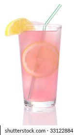 Glass of pink lemonade on ice with lemon wedges and straw