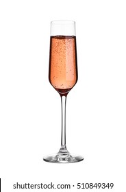 Glass of pink rose champagne with bubbles on white background isolated
