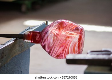 Glass Pink Vase Rose Handmade Mdina Malta  glassblower