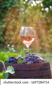 Glass of pink wine and red grapes with leaves on old barrel in green garden on sunny day. Vertical picture