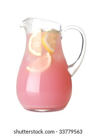 Glass pitcher of pink lemonade with lemon wedges on white background
